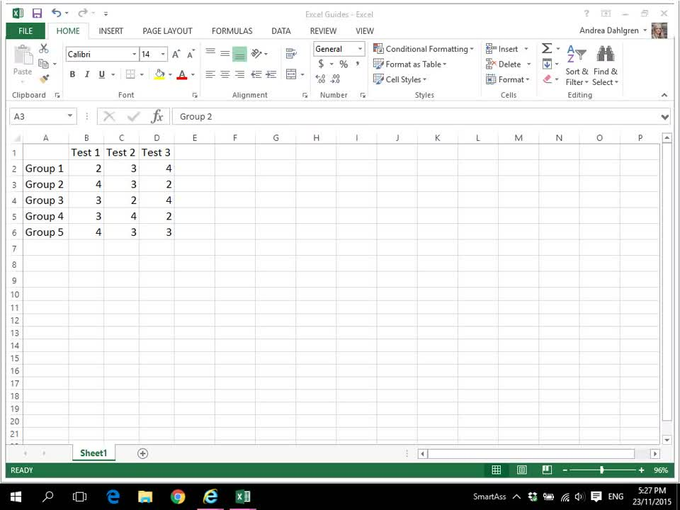 Select Cells in Excel 2013
